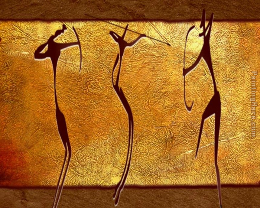 Caveman Hunters painting - 2010 Caveman Hunters art painting