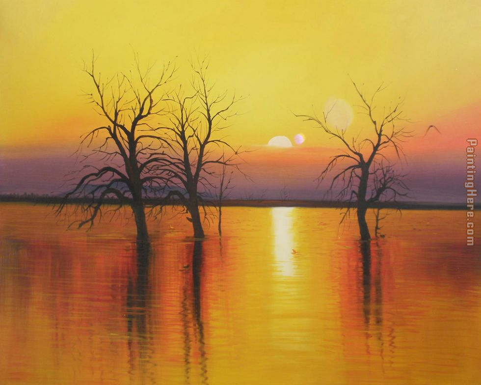 Sunset Trees Water Painting