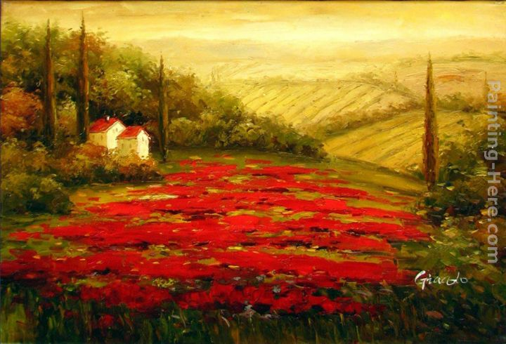 Red Poppies in Tuscany painting - 2011 Red Poppies in Tuscany art painting