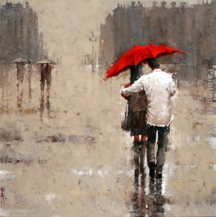 Red umbrella painting - 2011 Red umbrella art painting