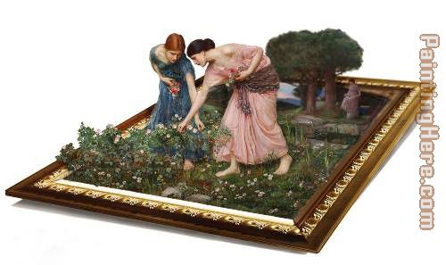 waterhouse gather flower girls painting - 3d art waterhouse gather flower girls art painting