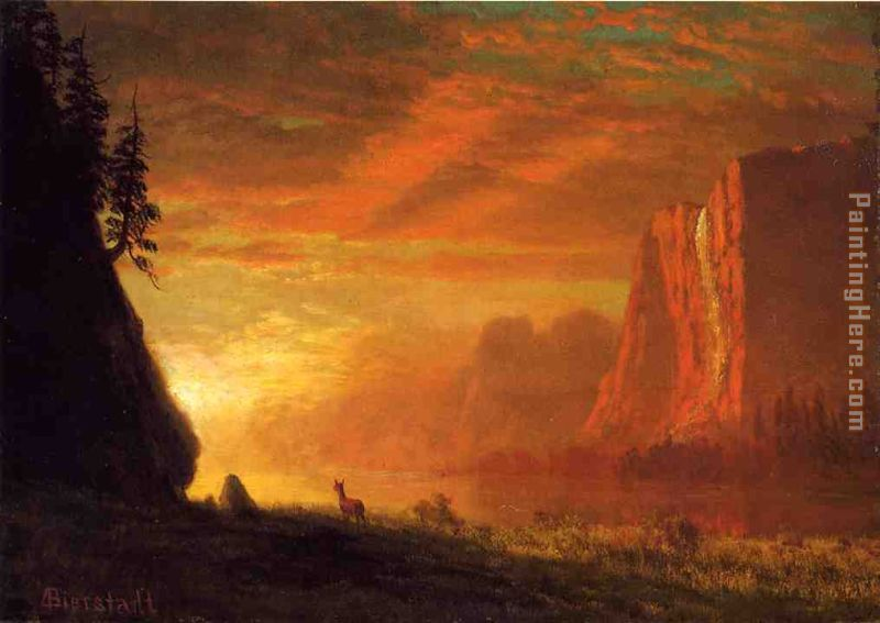 Deer at Sunset painting - Albert Bierstadt Deer at Sunset art painting