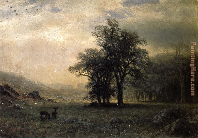 Deer in a Landscape painting - Albert Bierstadt Deer in a Landscape art painting