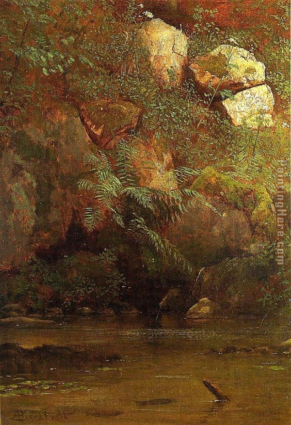 Ferns and Rocks on an Embankment painting - Albert Bierstadt Ferns and Rocks on an Embankment art painting