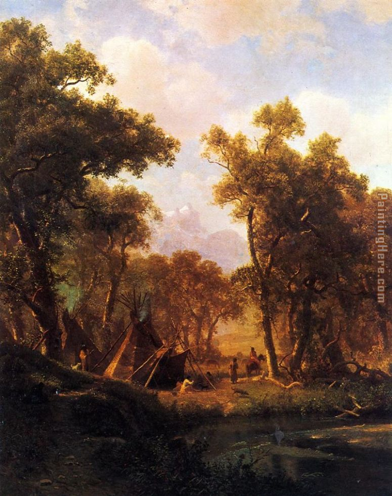 Indian Encampment, Shoshone Village painting - Albert Bierstadt Indian Encampment, Shoshone Village art painting