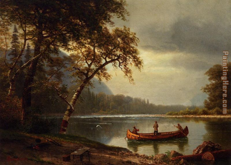 Salmon Fishing on the Cascapediac River painting - Albert Bierstadt Salmon Fishing on the Cascapediac River art painting