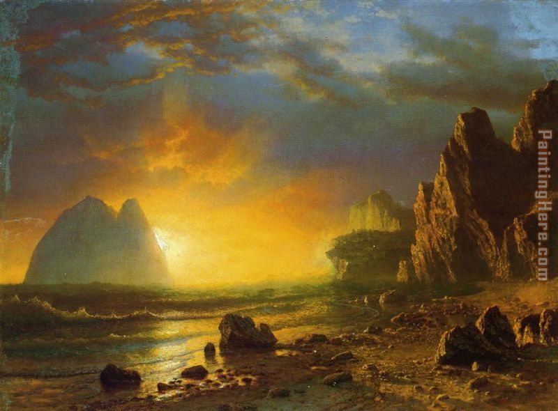 Albert Bierstadt Sunset on the Coast Art Painting