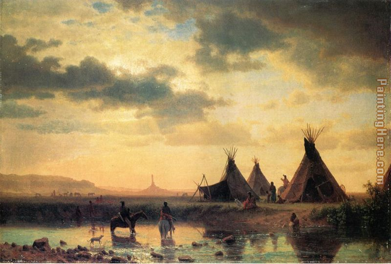 View of Chimney Rock, Ogalillalh Sioux Village in Foreground painting - Albert Bierstadt View of Chimney Rock, Ogalillalh Sioux Village in Foreground art painting