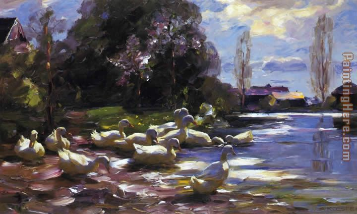 Ducks on a Riverbank on a Sunny Afternoon painting - Alexander Koester Ducks on a Riverbank on a Sunny Afternoon art painting