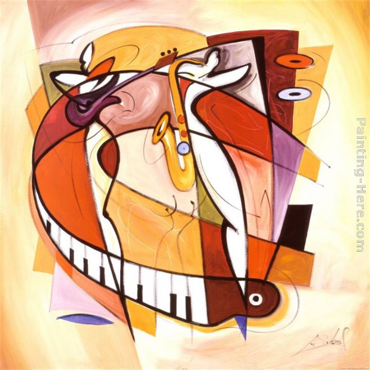 Wailing on the Sax painting - Alfred Gockel Wailing on the Sax art painting