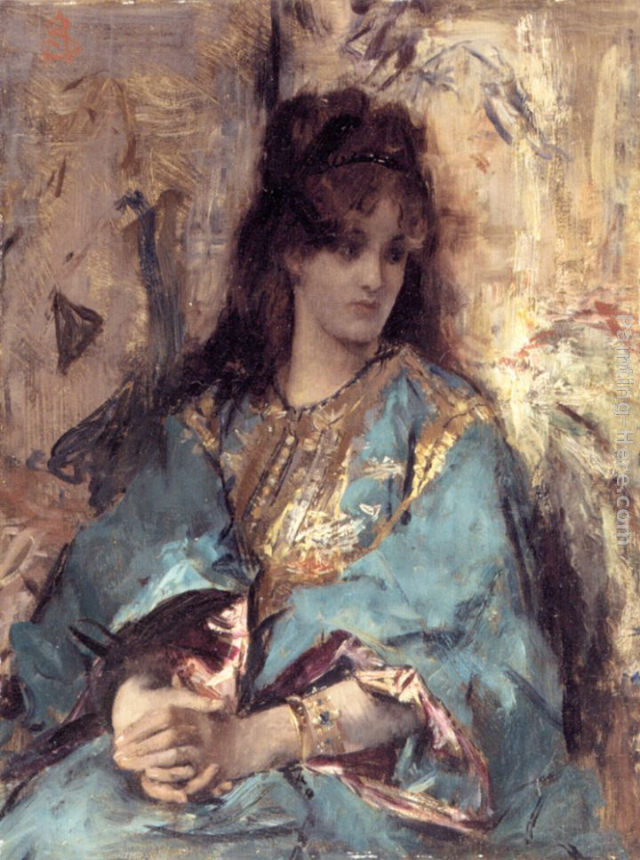A Woman Seated in Oriental Dress painting - Alfred Stevens A Woman Seated in Oriental Dress art painting