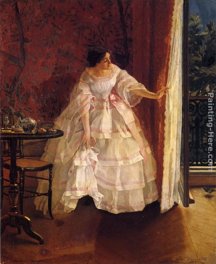 Lady at a Window Feeding Birds painting - Alfred Stevens Lady at a Window Feeding Birds art painting