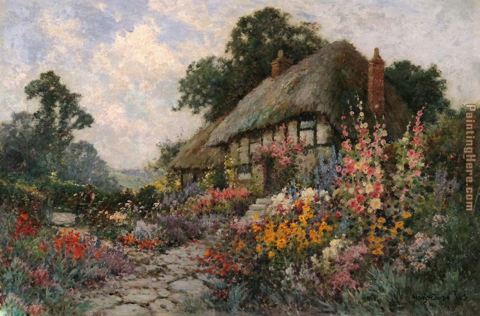 Ordinaire A Devonshire Garden Painting   Alfred De Breanski A Devonshire Garden Art  Painting