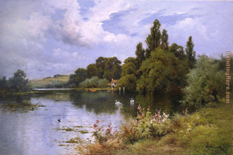 Alfred de Breanski A Reach at the Thames Above Goring Art Painting