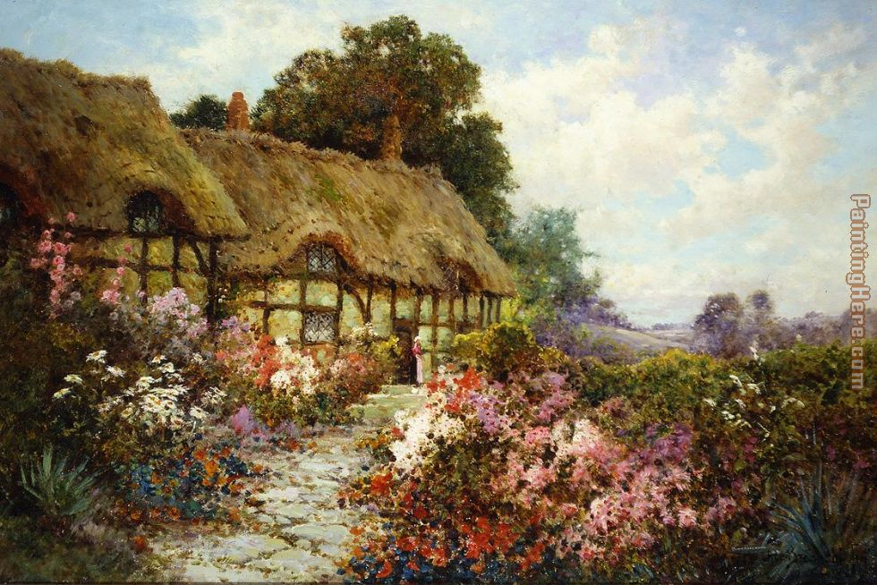 Ann Hathaway's Cottage painting - Alfred de Breanski Ann Hathaway's Cottage art painting