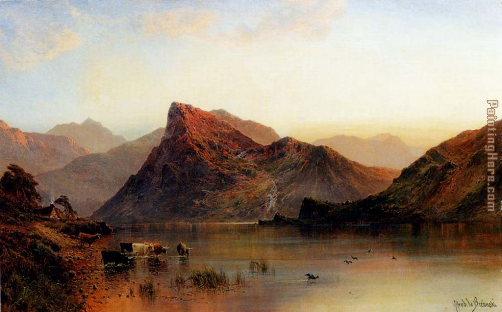The Glydwr Mountains, Snowdon Valley, Wales painting - Alfred de Breanski The Glydwr Mountains, Snowdon Valley, Wales art painting