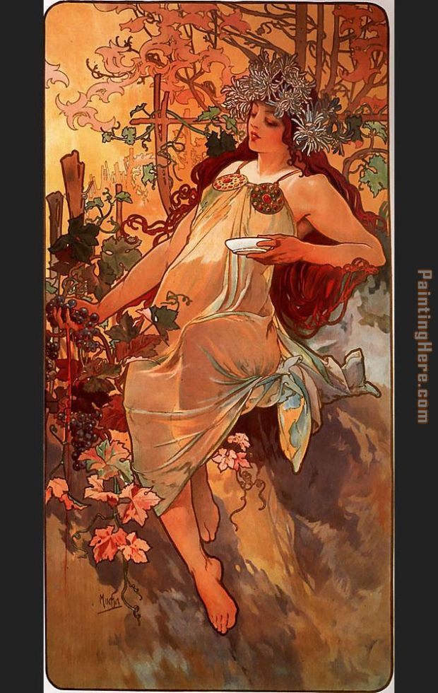 Autumn painting - Alphonse Maria Mucha Autumn art painting