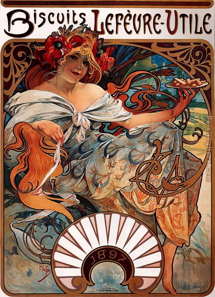 Biscuits Lefevre Utile painting - Alphonse Maria Mucha Biscuits Lefevre Utile art painting