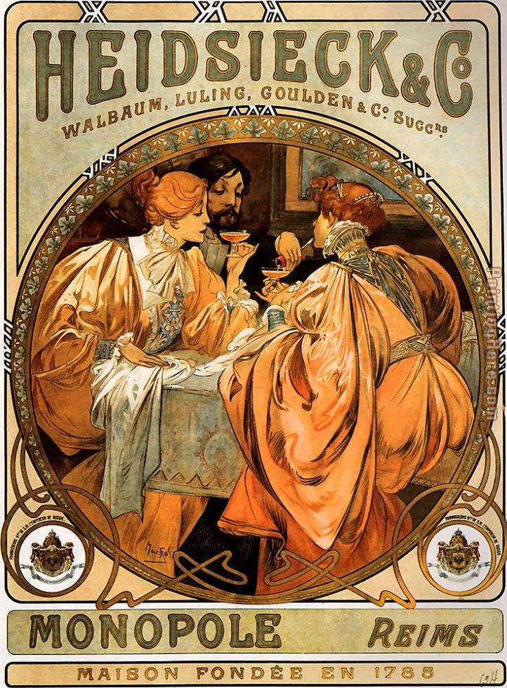 Heidsieck and Co painting - Alphonse Maria Mucha Heidsieck and Co art painting