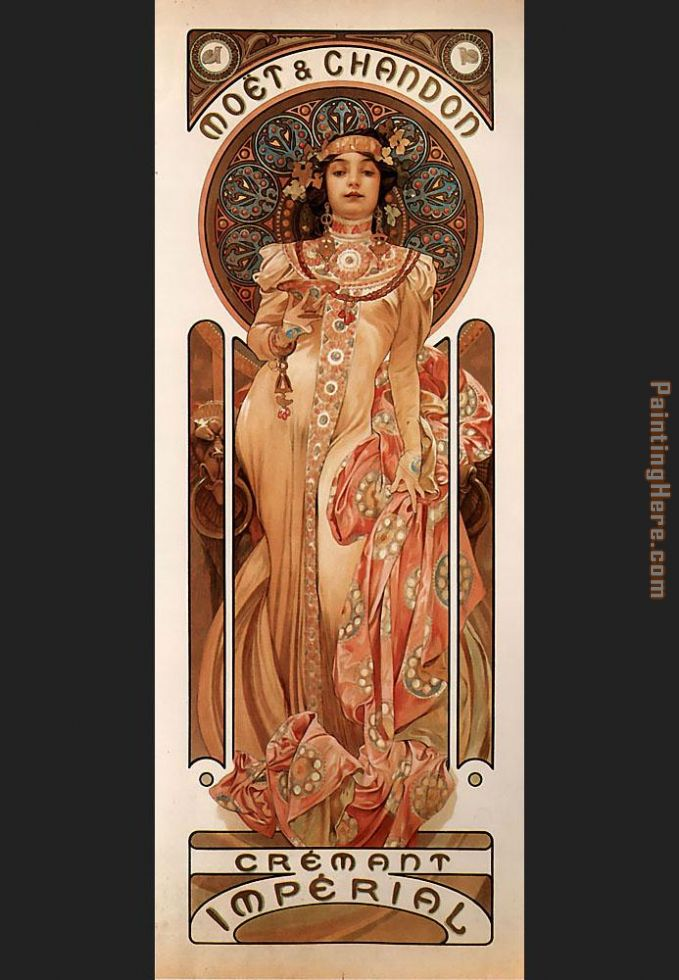 Moet and Chandon Cremant Imperial painting - Alphonse Maria Mucha Moet and Chandon Cremant Imperial art painting
