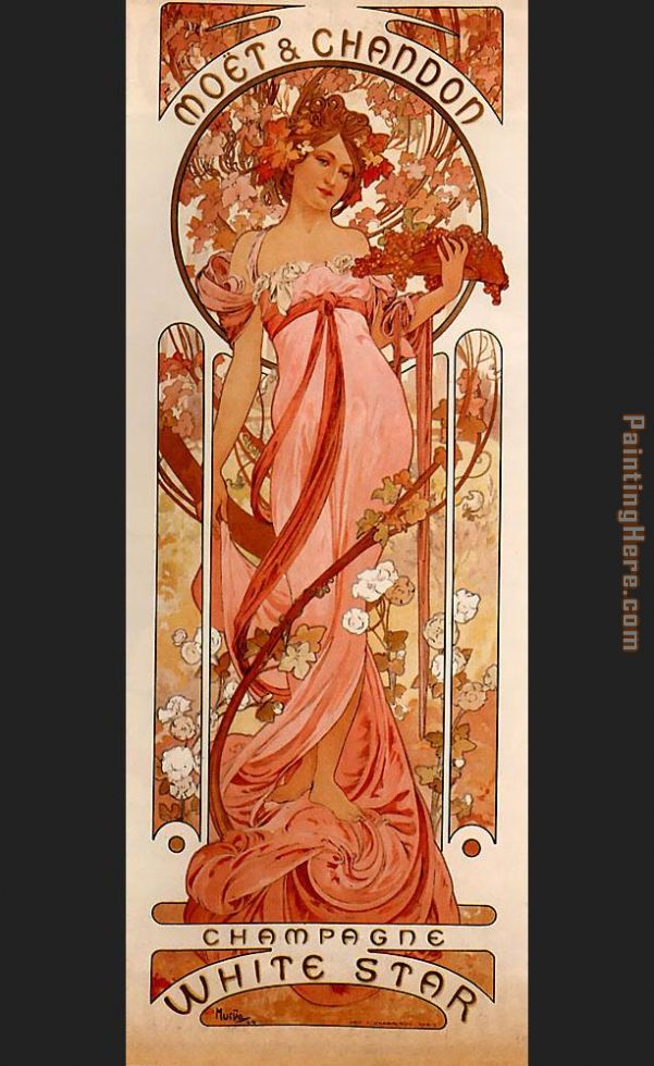 Alphonse Maria Mucha Moet and Chandon White Star Art Painting