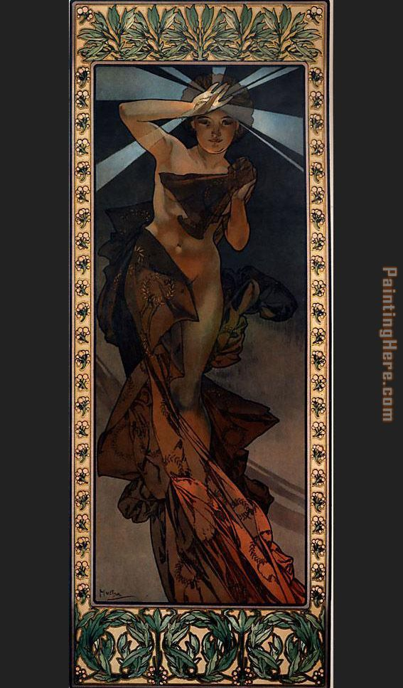 Morning Star painting - Alphonse Maria Mucha Morning Star art painting