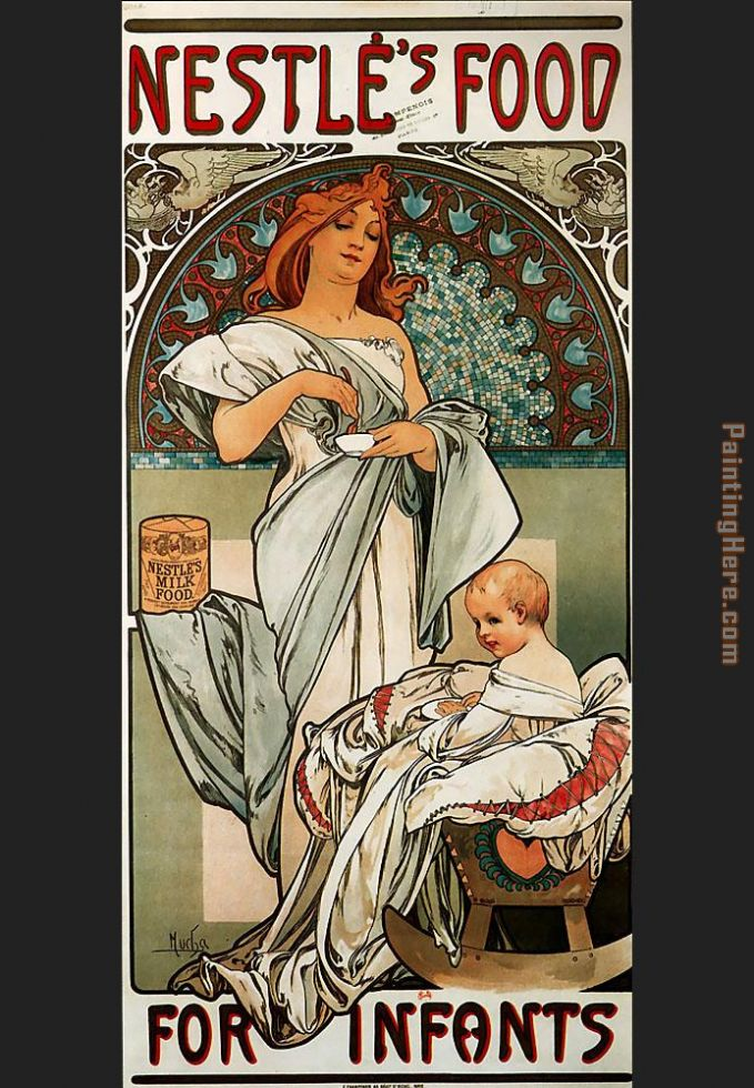 Alphonse Maria Mucha Nestles Food for Infants Art Painting