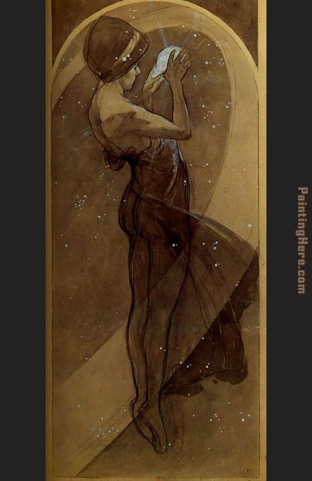 North Star painting - Alphonse Maria Mucha North Star art painting