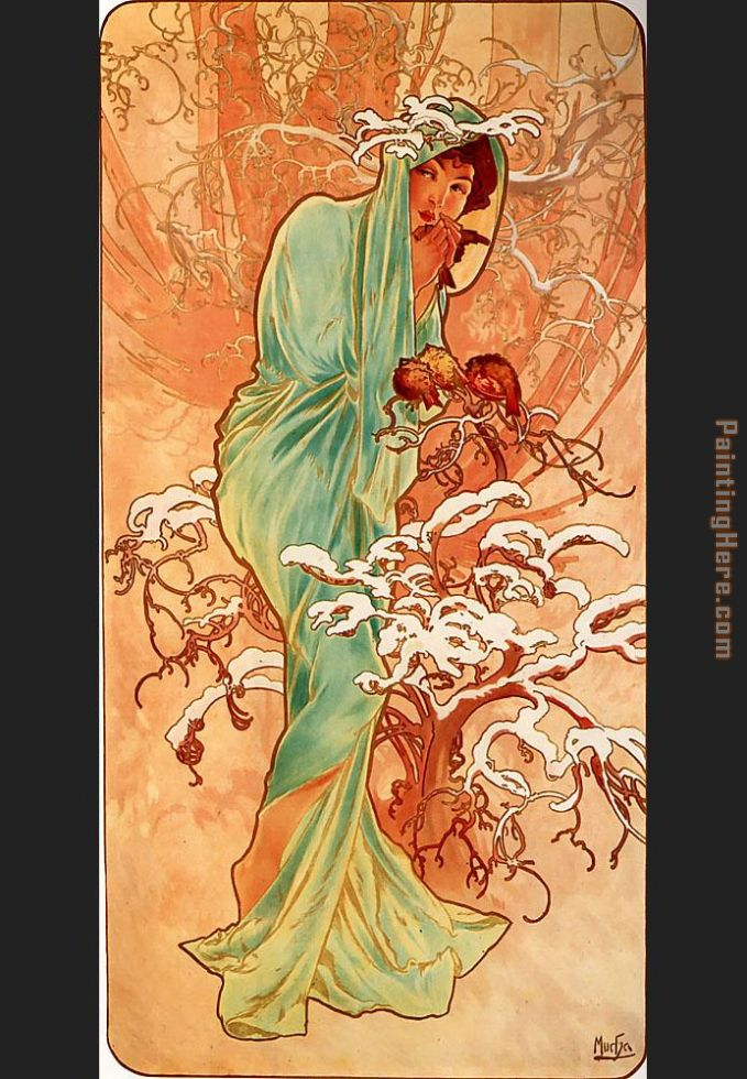 Winter painting - Alphonse Maria Mucha Winter art painting