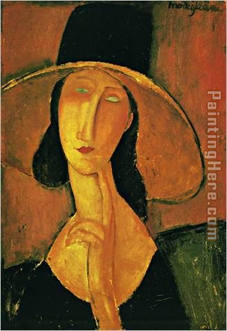 Jeanne Hebuterne in Large Hat painting - Amedeo Modigliani Jeanne Hebuterne in Large Hat art painting