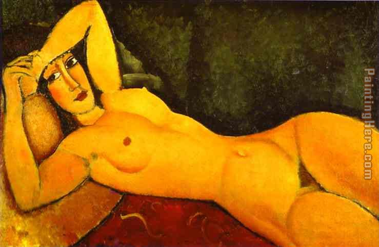 Amedeo Modigliani Reclining Nude with Left Arm Resting on Forehead Art Painting