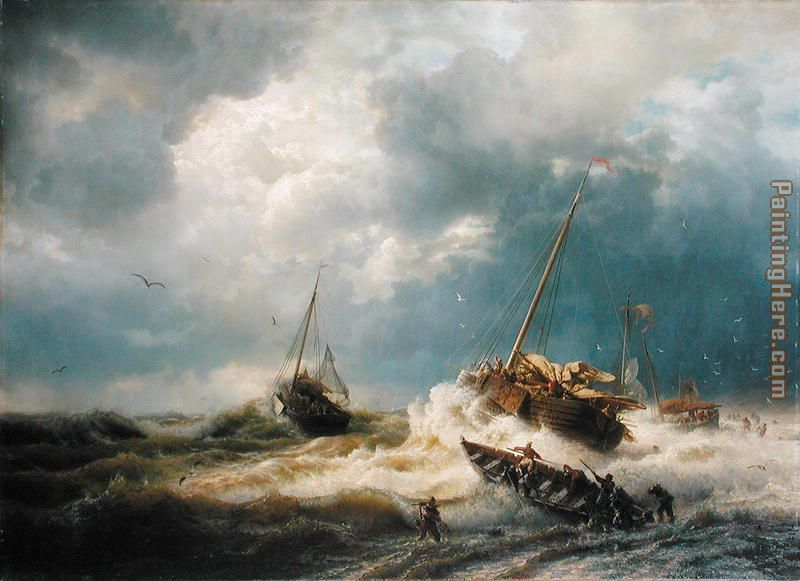 Ships in a Storm on the Dutch Coast 1854 painting - Andreas Achenbach Ships in a Storm on the Dutch Coast 1854 art painting