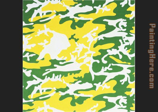 Camouflage green yellow white painting - Andy Warhol Camouflage green yellow white art painting