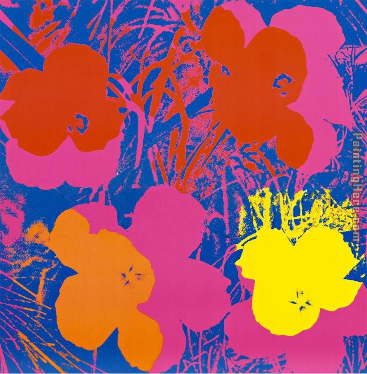 Flowers, 1970 (Red, Yellow, Orange on Blue painting - Andy Warhol Flowers, 1970 (Red, Yellow, Orange on Blue art painting