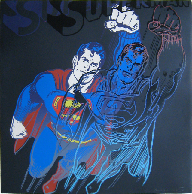 Superman with Diamond-Dust painting - Andy Warhol Superman with Diamond-Dust art painting