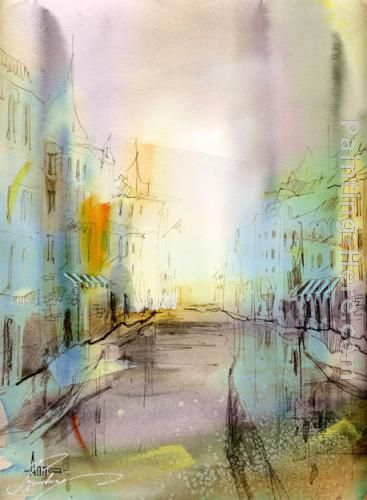 City I've never been painting - Anna Razumovskaya City I've never been art painting