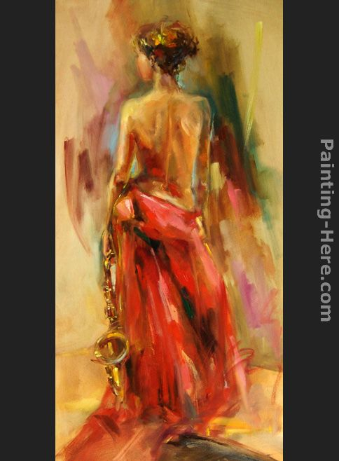 Lady In A Red Dress II painting - Anna Razumovskaya Lady In A Red Dress II art painting