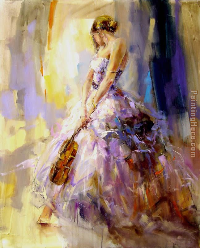 flirting With A Violin painting - Anna Razumovskaya flirting With A Violin art painting