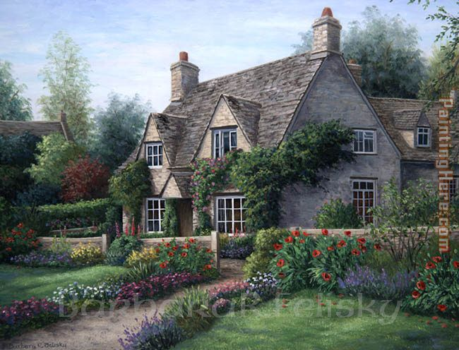 Poppy Cottage painting - Barbara Felisky Poppy Cottage art painting