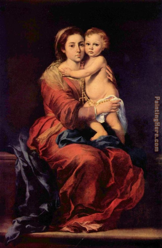Madonna with the Rosary painting - Bartolome Esteban Murillo Madonna with the Rosary art painting