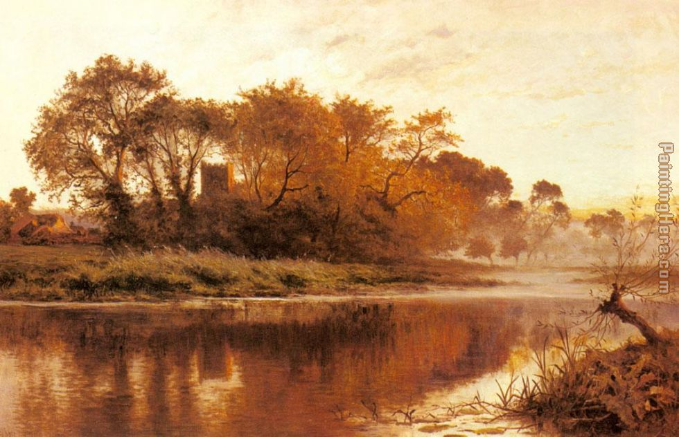 The Last Gleam Wargrave on Thames painting - Benjamin Williams Leader The Last Gleam Wargrave on Thames art painting