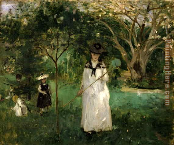 Butterfly Hunt painting - Berthe Morisot Butterfly Hunt art painting