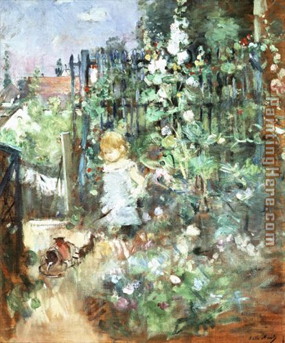 Berthe Morisot Child among Staked Roses Art Painting