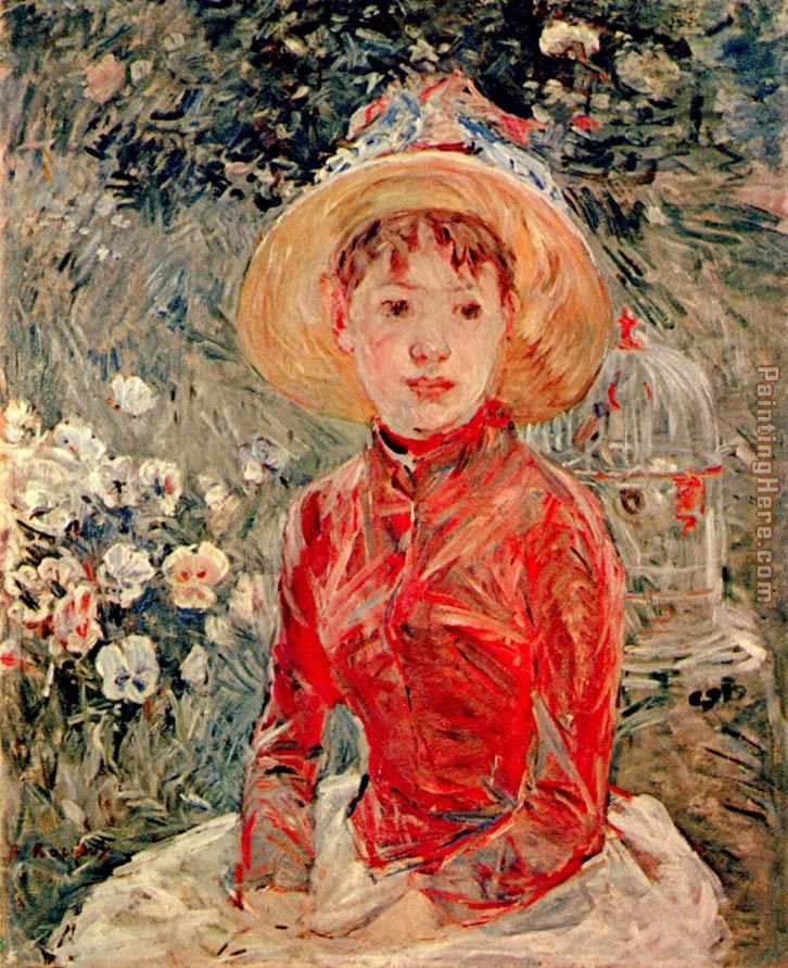 Young Girl with Cage painting - Berthe Morisot Young Girl with Cage art painting