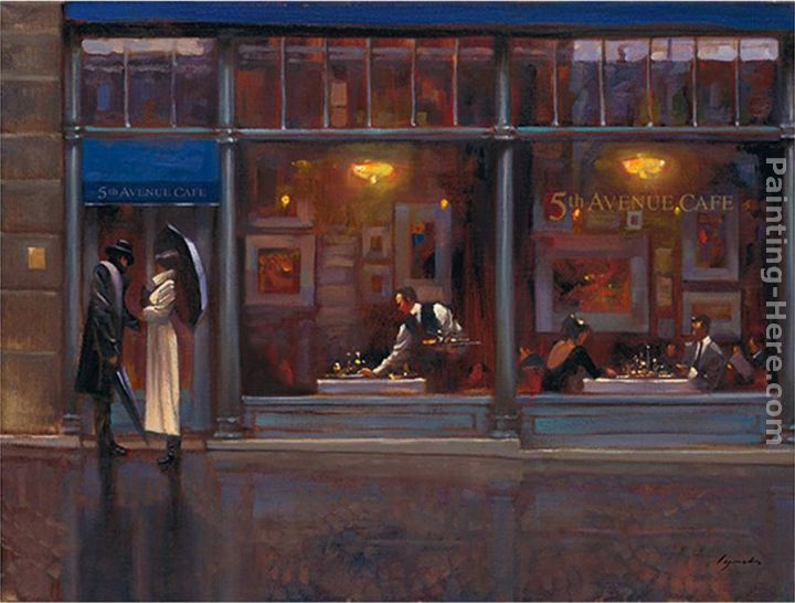 Fifth Avenue Cafe I painting - Brent Lynch Fifth Avenue Cafe I art painting