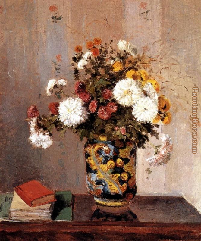 Camille Pissarro Chrysanthemums In A Chinese Vase Art Painting