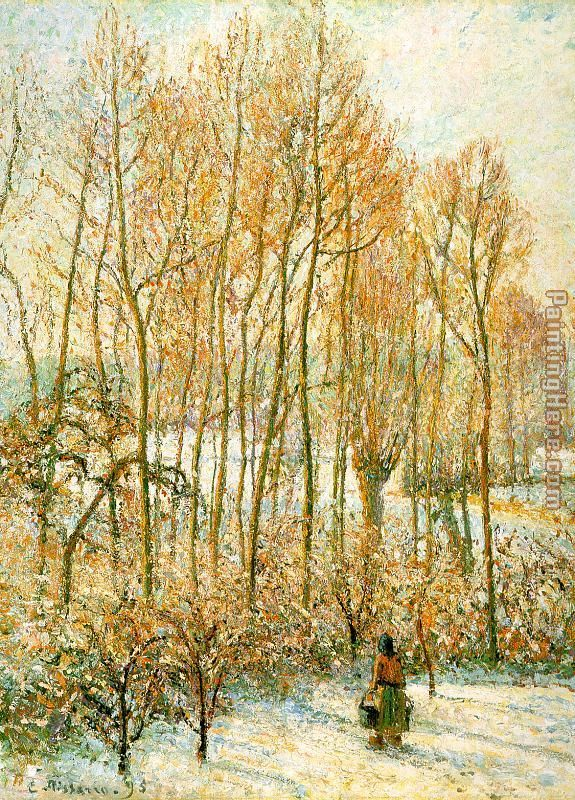 Camille Pissarro Morning Sunlight on the Snow Art Painting