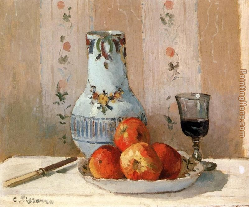 Camille Pissarro Still Life with Apples and Pitcher Art Painting