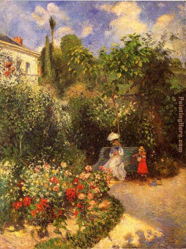 The garden at Pontoise 1877 painting - Camille Pissarro The garden at Pontoise 1877 art painting