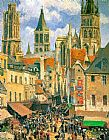 The Old Market at Rouen by Camille Pissarro